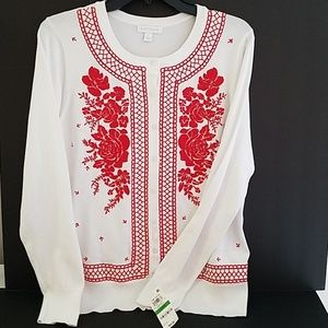 White and red long sleeve sweater